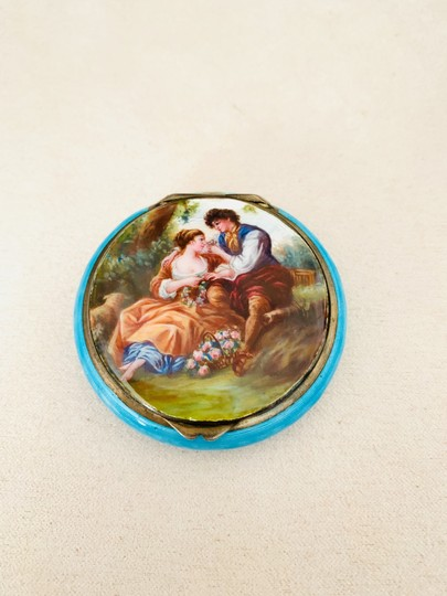 Antique Italian 800 Silver Enamel Compact Antique Italian 800 Sterling Silver and Enamel Hand Painted Victorian Style Couple in Love Courting Image 6