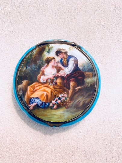 Antique Italian 800 Silver Enamel Compact Antique Italian 800 Sterling Silver and Enamel Hand Painted Victorian Style Couple in Love Courting Image 9