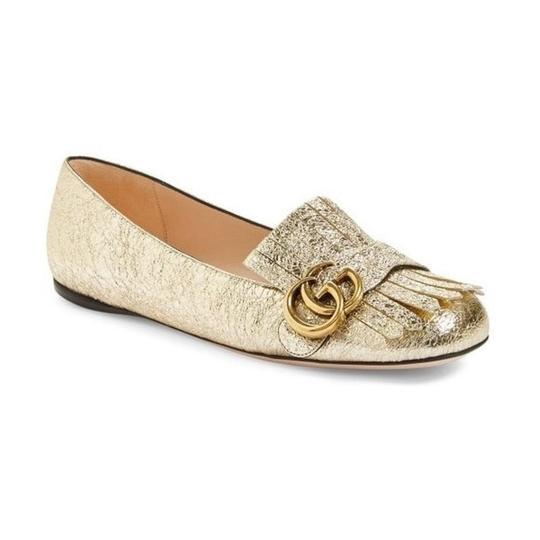 Gucci Loafers Espadrilles Marmont Galassia Gold Flats Image 0