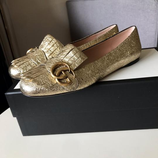 Gucci Loafers Espadrilles Marmont Galassia Gold Flats Image 2