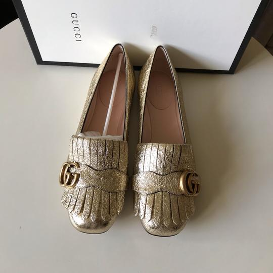 Gucci Loafers Espadrilles Marmont Galassia Gold Flats Image 9