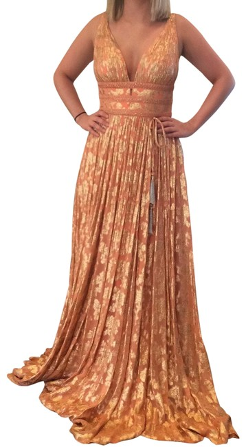 Item - Coral/Gold 52474 Long Formal Dress Size 4 (S)