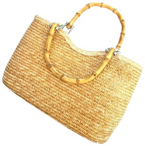 Wicker Bamboo Tote Satchel in taupe