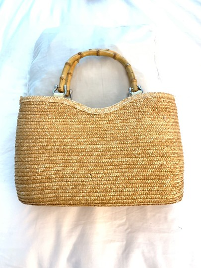 Wicker Bamboo Tote Satchel in taupe Image 10