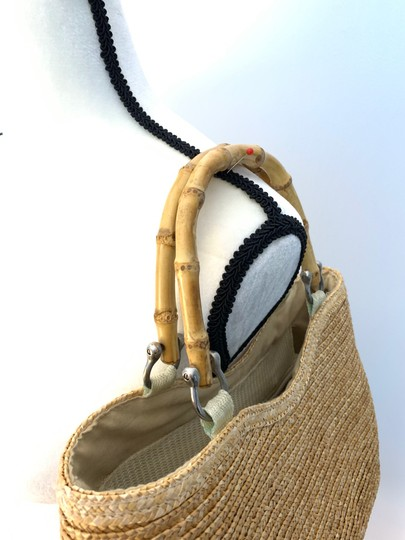 Wicker Bamboo Tote Satchel in taupe Image 3