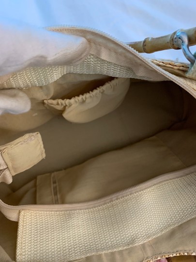 Wicker Bamboo Tote Satchel in taupe Image 6