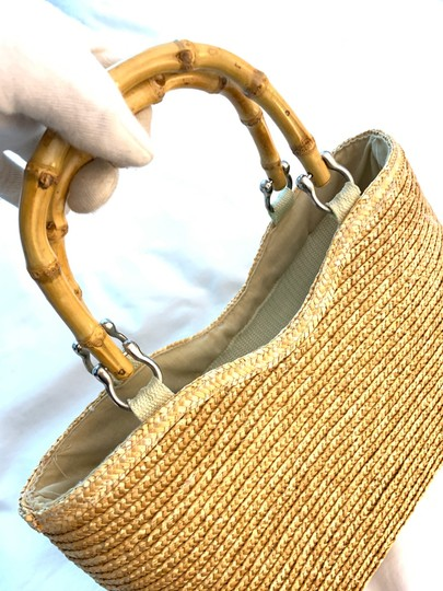 Wicker Bamboo Tote Satchel in taupe Image 9