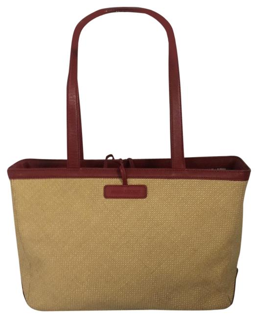 Item - Natural and Red Straw Leather Tote