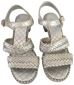 Chanel Chains Cc Quilted Braided Ankle Strap Silver Sandals