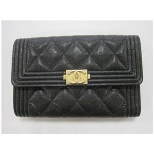 Chanel Boy Medium Flap Trifold Wallet Caviar GHW