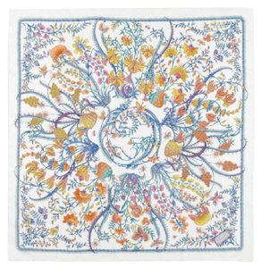Gucci New Gucci Large White Floral Silk Foulard Scarf 303156 9069