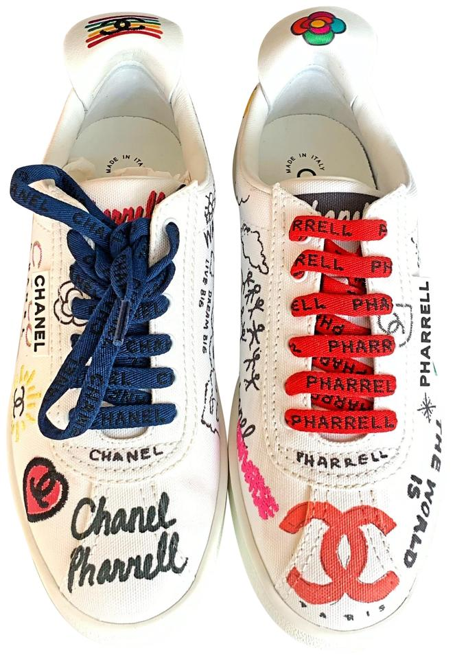 reputable site f23bc 590f3 Chanel White Graffiti Pharrell Capsule Canvas Lace Up Sneakers Size EU 37.5  (Approx. US 7.5) Regular (M, B)