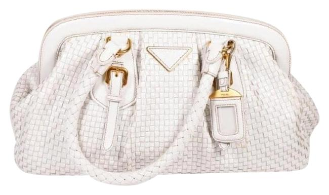 Item - Woven Madras White Leather Tote