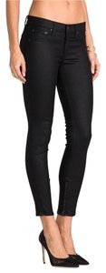 Rag & Bone Cropped Coated Zipper-in Skinny Jeans-Coated