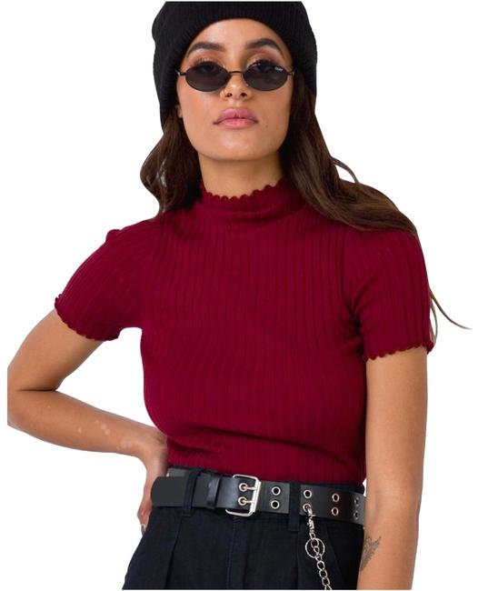 PRINCESS POLLY Wine Red Ribbed Cropped Turtleneck Blouse Size 10 (M) PRINCESS POLLY Wine Red Ribbed Cropped Turtleneck Blouse Size 10 (M) Image 1