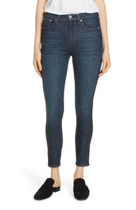 Rag & Bone Cropped Coated Dark Wash High Rise Skinny Jeans-Coated
