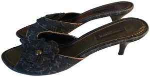 Louis Vuitton denim monogrammed canvas Mules