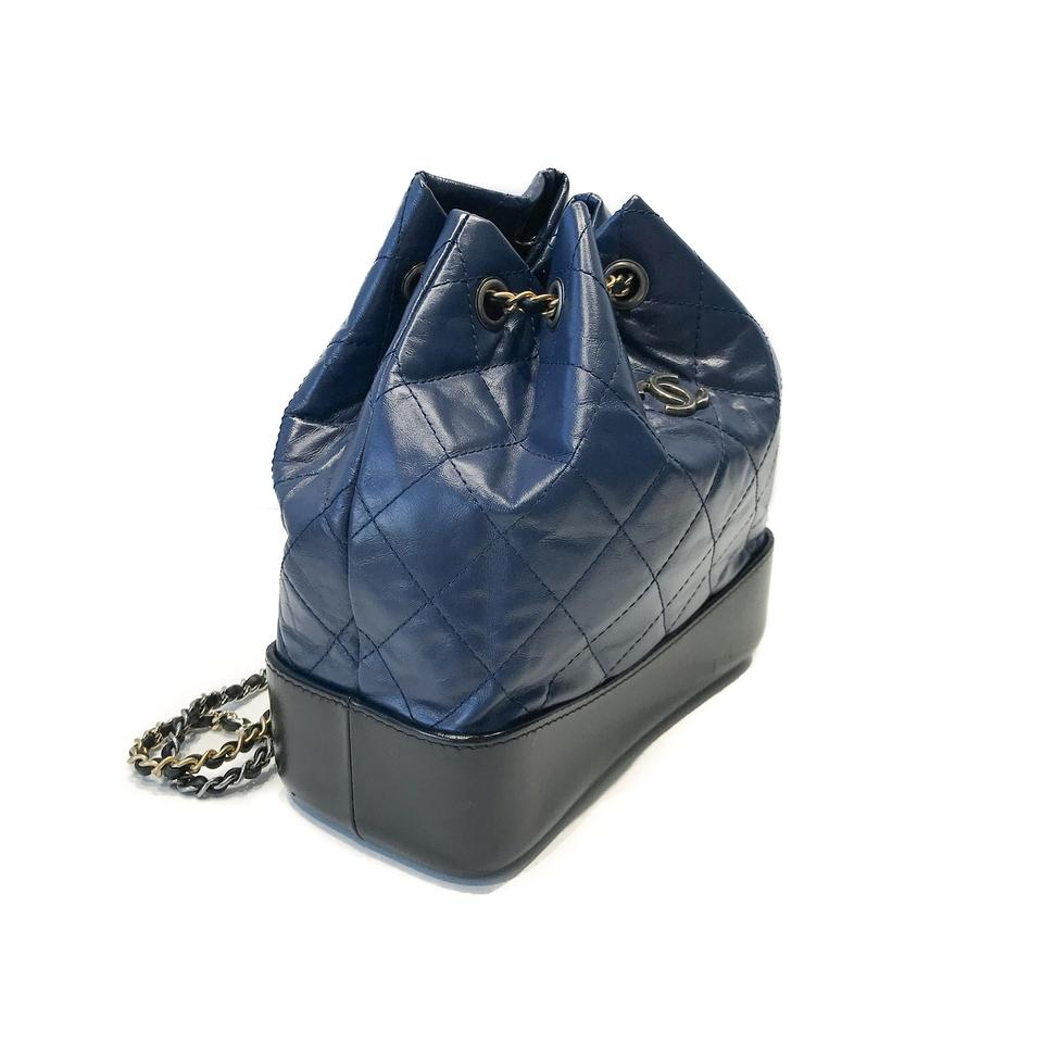 324058a01512 Chanel Gabrielle Backpack Small Navy Blue / Black Leather Backpack - Tradesy