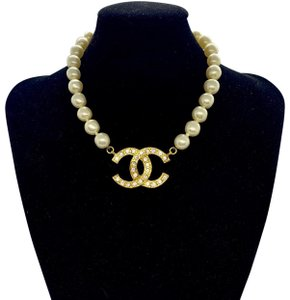 Chanel CHANEL Vintage Rare Pearl Large CC Crystal Necklace