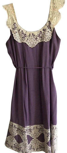 Item - Purple Silk Slip Crochet Trim Long Night Out Dress Size 4 (S)