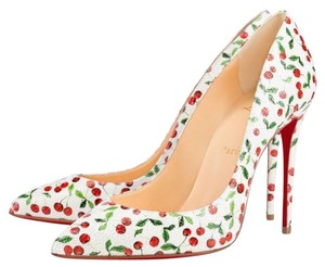 Christian Louboutin White & Red Cherry Pattern Pumps