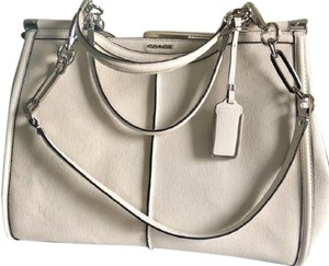 Coach Madison Ivory Colored Leather Pinnacle Caroline Satchel in White