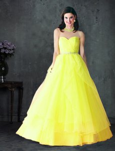 Alfred Angelo Yellow Disney Royal Ball Gown Prom Fairy Dress Rhinestones 10