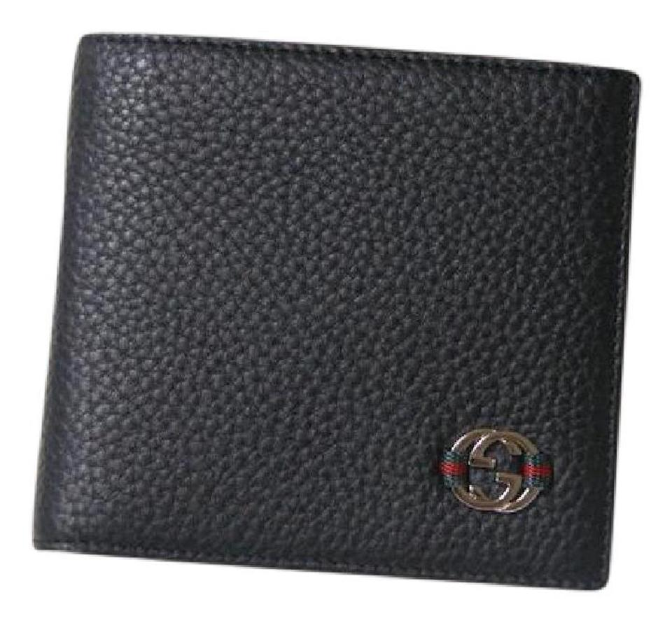 185b46db2e52 Gucci New Authentic Men's Gucci Ace Black Leather Bifold Wallet clutch  Image 0 ...