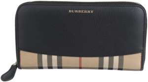 Burberry Burberry Horseferry Check And Leather Zip Around Wallet