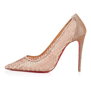 Christian Louboutin Pigalle Follies Stiletto Glitter Classic nude Pumps
