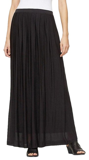 Item - Black Jersey Sheer Silk Pleated S Skirt Size 6 (S, 28)