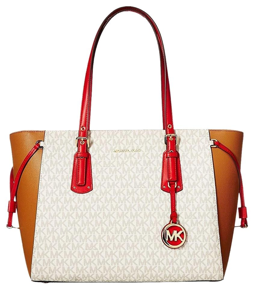 873c349a564a MICHAEL Michael Kors Medium Voyager Signature /Leather Shoulder Coated  Canvas Tote in Vanilla/Acorn ...