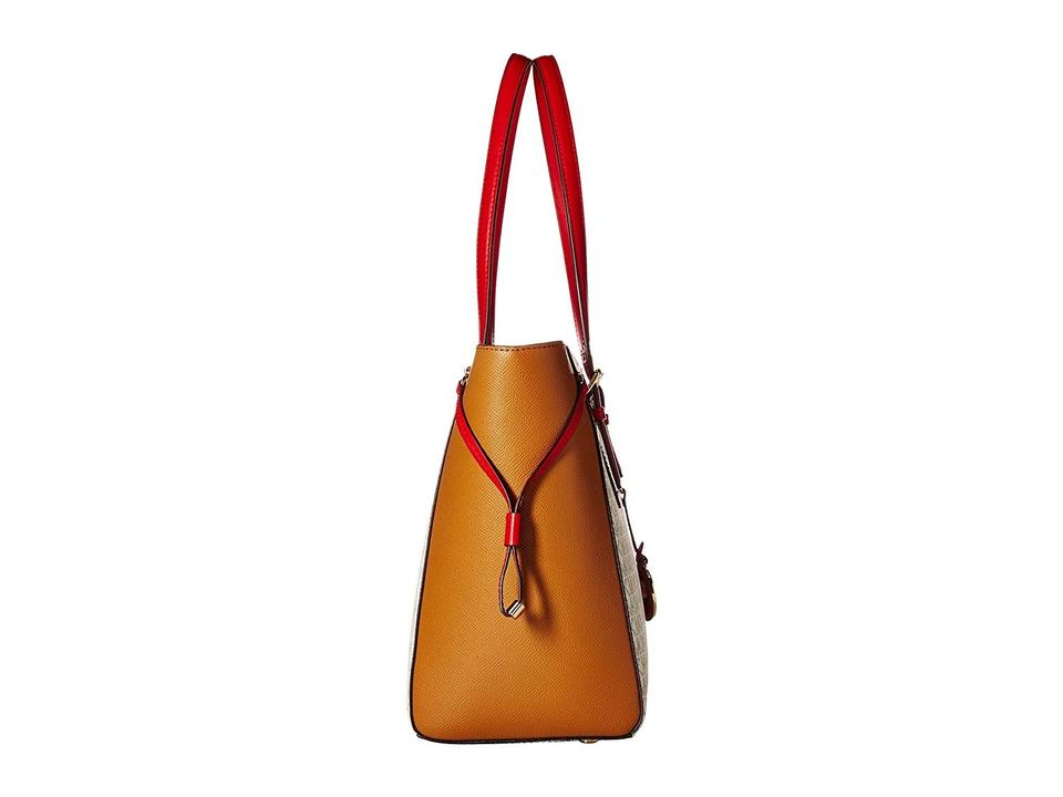 a07ce5418ae4 MICHAEL Michael Kors Medium Voyager Signature /Leather Shoulder Coated  Canvas Tote in Vanilla/Acorn. 1234567