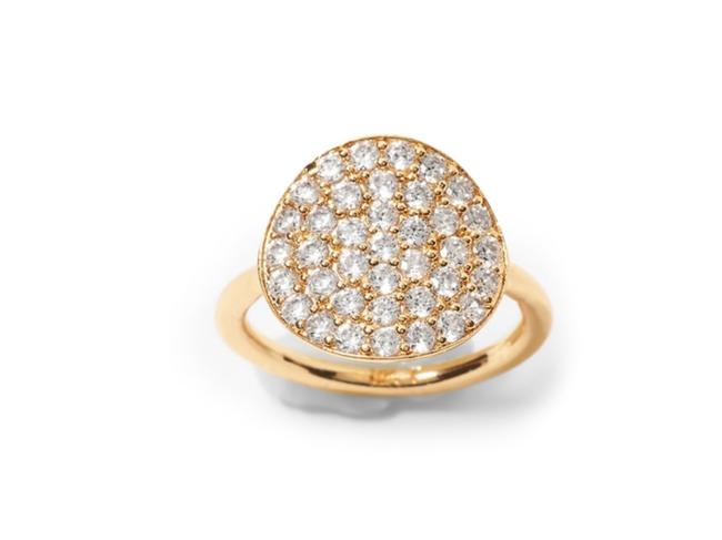 Item - Gold Tone Cz Pave Coin Ring