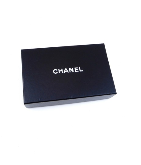 Chanel Metallic Black Leather Long Clutch Bifold Wallet Italy Image 1