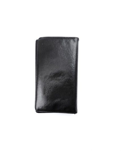 Chanel Metallic Black Leather Long Clutch Bifold Wallet Italy Image 2