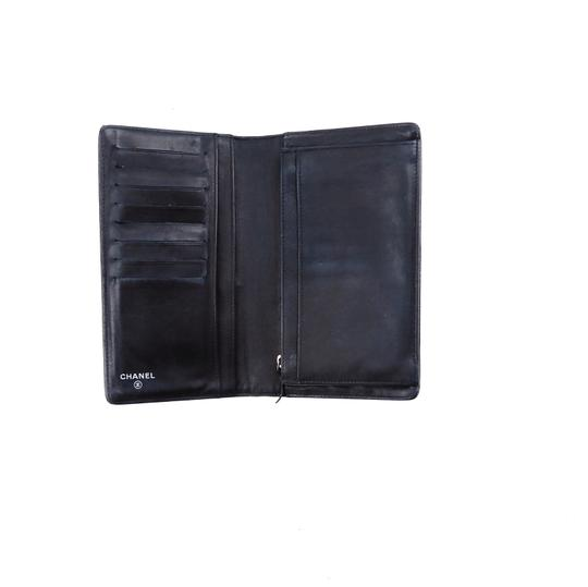 Chanel Metallic Black Leather Long Clutch Bifold Wallet Italy Image 4