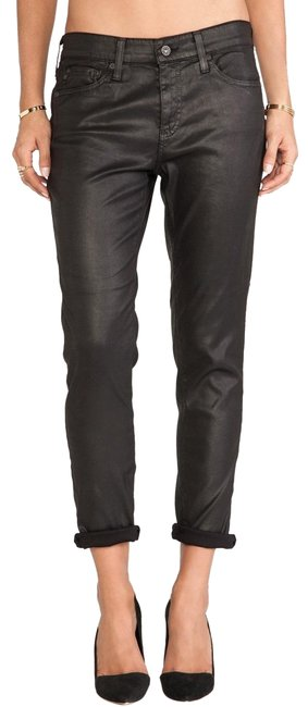 Item - Black Ag Jeans Beau Coated Vegan Tomboy Faux Leather Pants Size 2 (XS, 26)