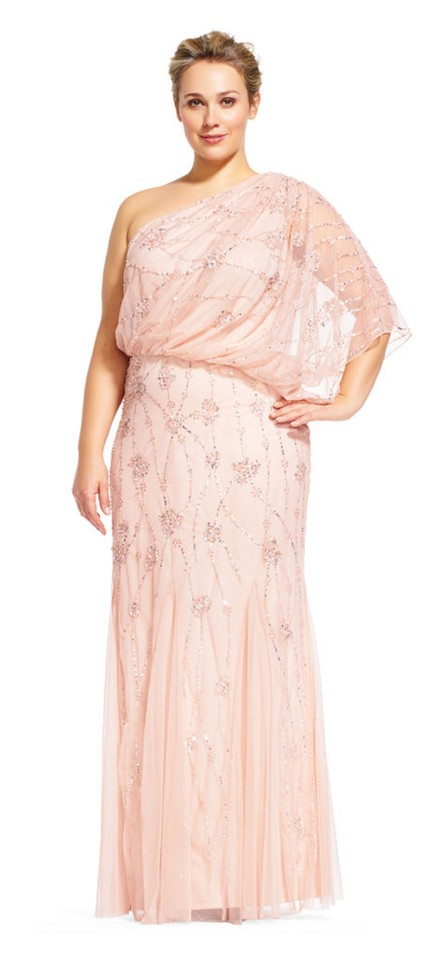 Adrianna Papell Blush Pink One Shoulder Beaded Gown Long Formal Dress Size  20 (Plus 1x) 38% off retail