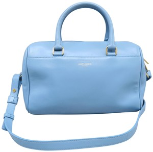 Saint Laurent Ysl Calfskin Duffle Satchel in SkyBlue