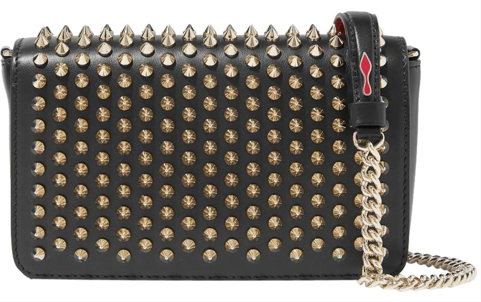 dbca9451920 Christian Louboutin Zoompouch Spike Black Gold Leather Shoulder Bag