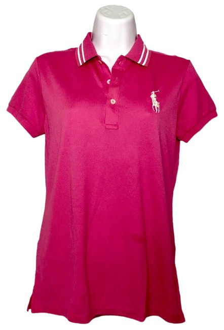 Item - Pink Fitted Collared Polo Tee Shirt Size 4 (S)