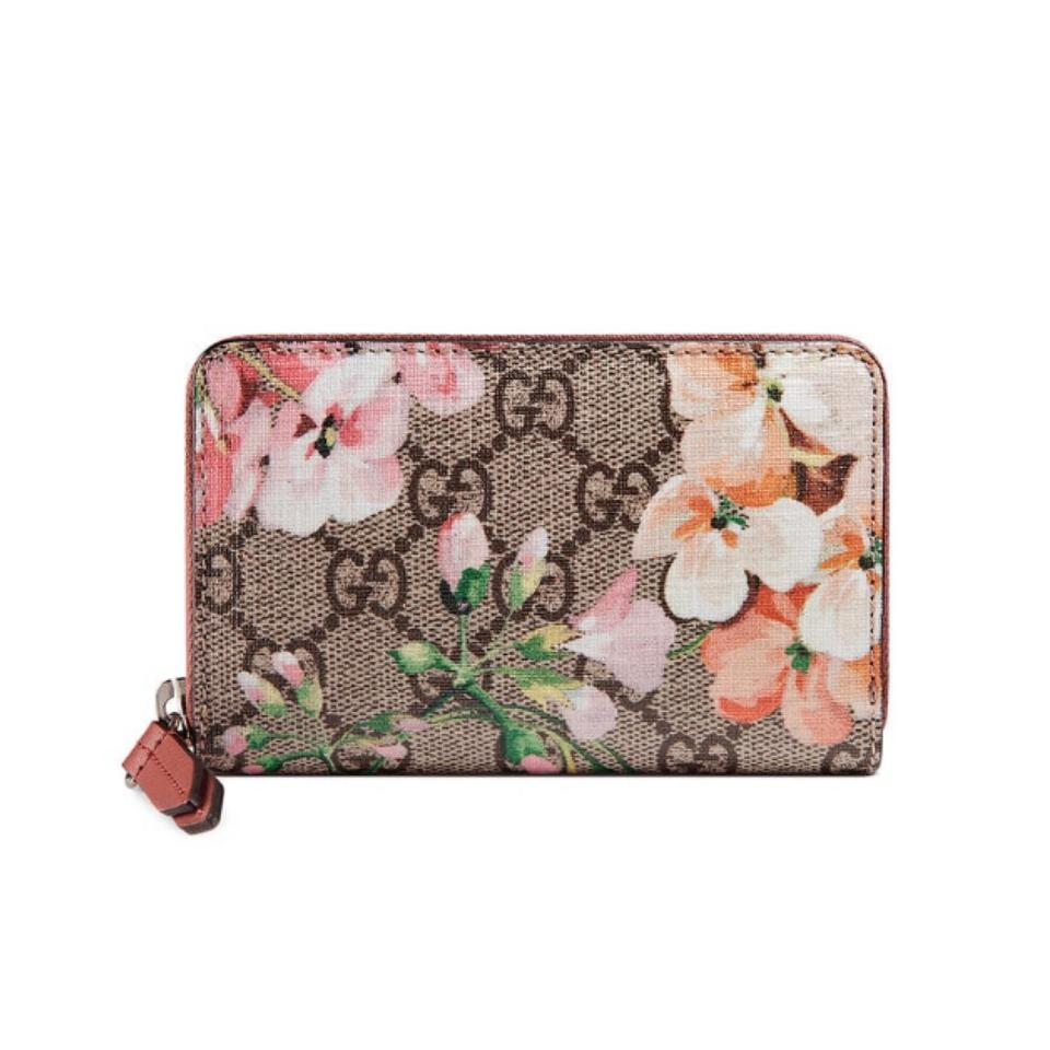 a42bee88fbd3eb Gucci Bloom floral Gg logo supreme small zip around card holder wallet  Image 0 ...