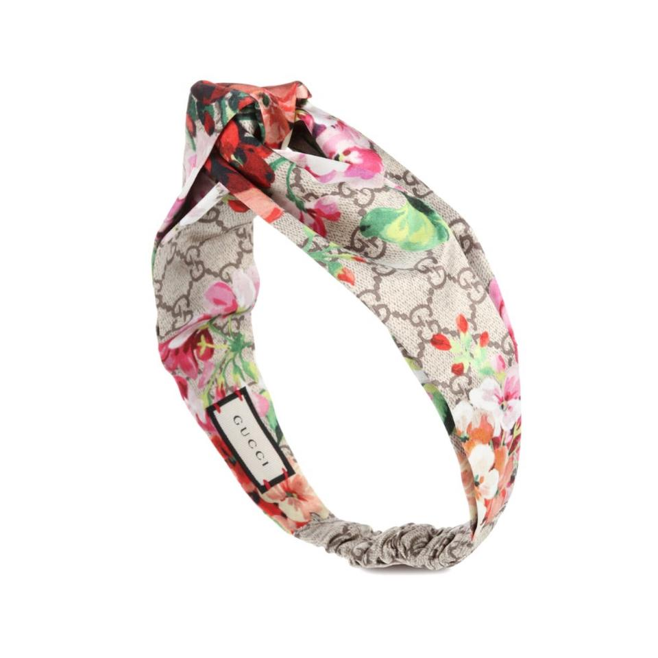 dcf4f3f8bd0cc Gucci Bloom Floral Logo Printed Silk Headband Hair Accessory