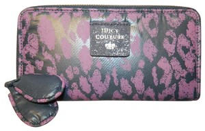 Juicy Couture New With Tags Coachella Wallet Cheetah Print Purple/Navy/Silver Clutch