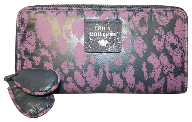 Item - Purple/Navy Cheetah Print Large Zip Around Wa Purple/Navy/Silver Genuine Leather/Nylon Clutch