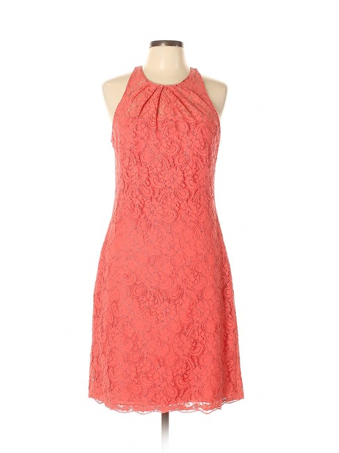 Item - Coral Pink Lace Sheath Short Night Out Dress Size 10 (M)