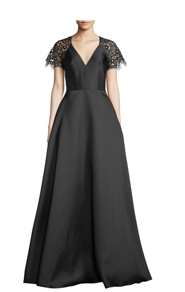 abe8051f79bd Monique Lhuillier Black W V-neck Ball Gown W/ Lace Sleeves Formal Dress