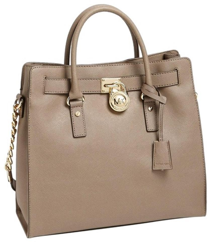 eab3d4944655 MICHAEL Michael Kors Hamilton Ns Saffiano Leather Grey Taupe Convertible  Satchel Tote in Dark Dune Image ...