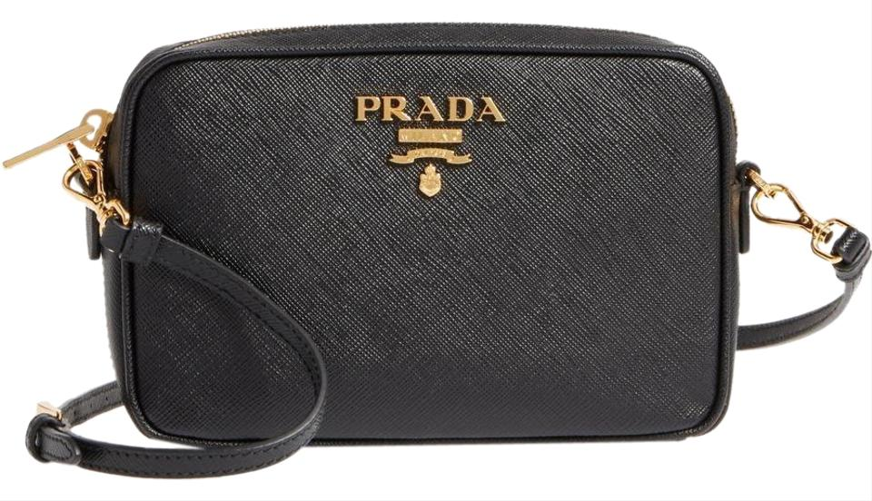 ffe4829f821e9c Prada Small Saffiano Camera Black Leather Cross Body Bag - Tradesy